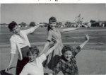 1960 aspiring Hurst Junior High cheerleaders.      Bottom:  Jimmie Clay and Paula Sledge.  Top:  Dixie Souder and Susan