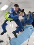 This is Bruce Arnold when he had to leave the cockpit of his DC-9 to assist subduing a stowaway snake.  Weightlessness i