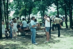 (031) 1975 Reunion Picnic Event:  Soapy Aclin and Charlie Stewart.  Back in the days when people still pointed at airpla