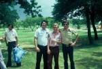(043) 1975 Reunion Picnic Event:  Danny Huckabee in the back with the blue pillow.  Up front... Larry Jones, Glen Birch,