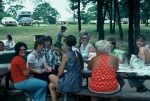 (048) 1975 Reunion Picnic Event:  ClaraJo Noble in the red, Gail Ince, Brenda Durant and Ruth Ann in the middle.  Maybe