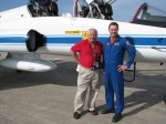 Another picture of Mike Shub and Bruce at the Shuttle Landing Facility at the Kennedy Space Center. The aircraft is one